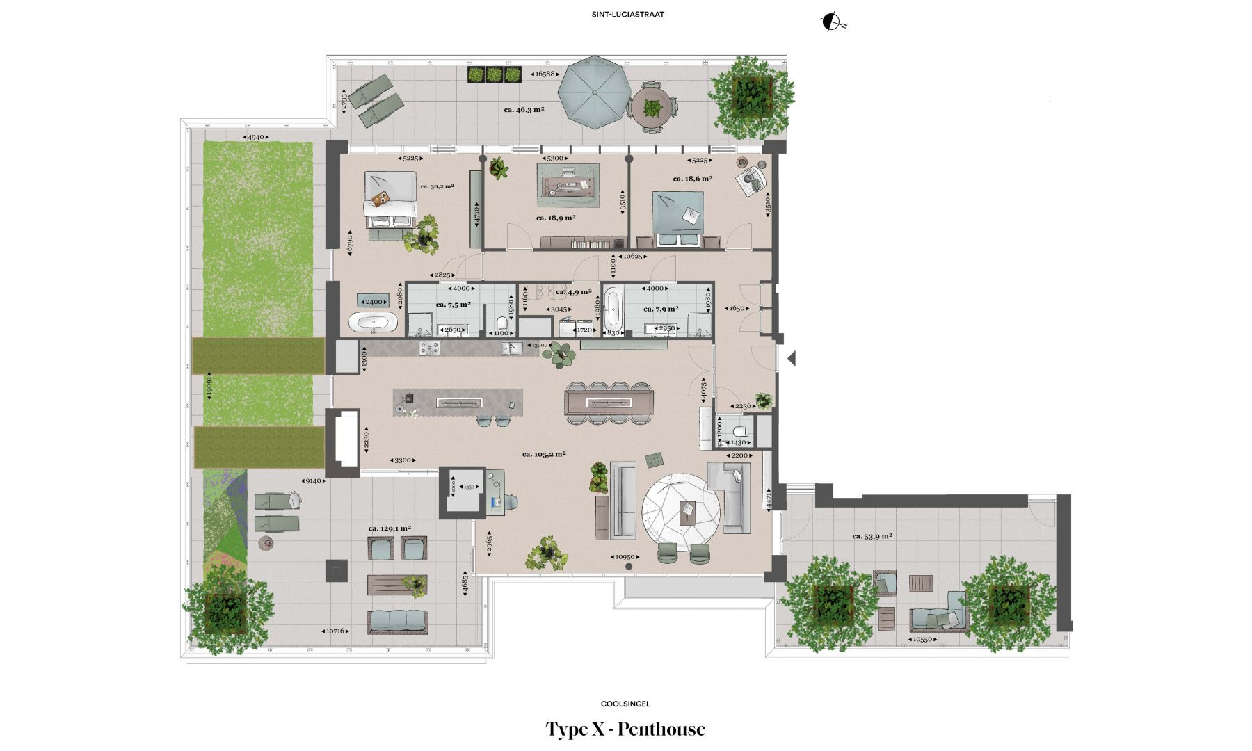 Plattegrond type x Type X - Penthouse N� 75 coolsingel